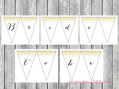 black font bride to be banner, bunting, pennant
