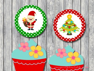 free christmas cupcake toppers, labels, tags