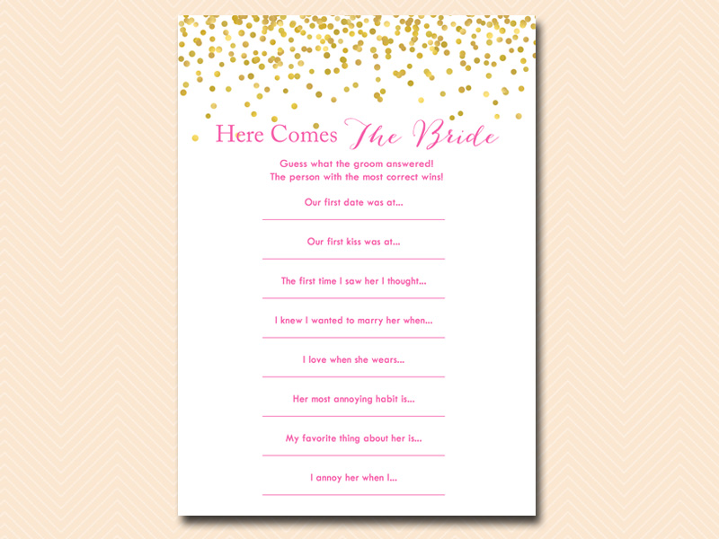 Here Comes The Bride Hot Pink And Gold Confetti Bridal Shower Games