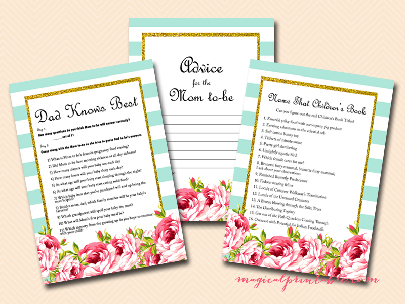 floral turquoise aqua baby shower games printable