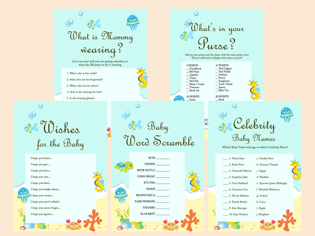 Under the Sea Baby Shower Game Package - Magical Printable