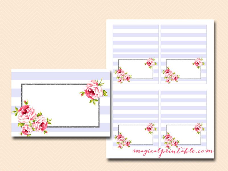 Food Labels, Name Tags, Labels, Lavender Stripes, Floral, Wedding Labels,
