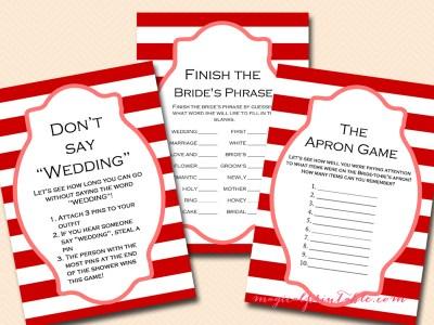 carnival bridal shower game pack, instant download, bs108, circus bridal shower games, printable games