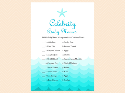 celebrity baby names, celebrity moms, Beach, Sea Waves, Nautical Baby Shower Games