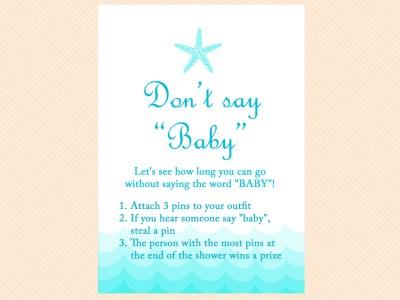 don't say word baby, Beach, Sea Waves, Nautical Baby Shower Games Printable, Beach