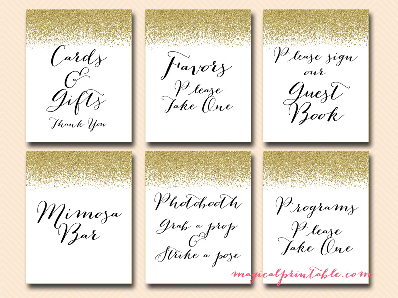 Nice ... Baby Gold Glitter Wedding Signages, Printable Wedding Signs, Instant  Download, Bridal Shower Signs, ...