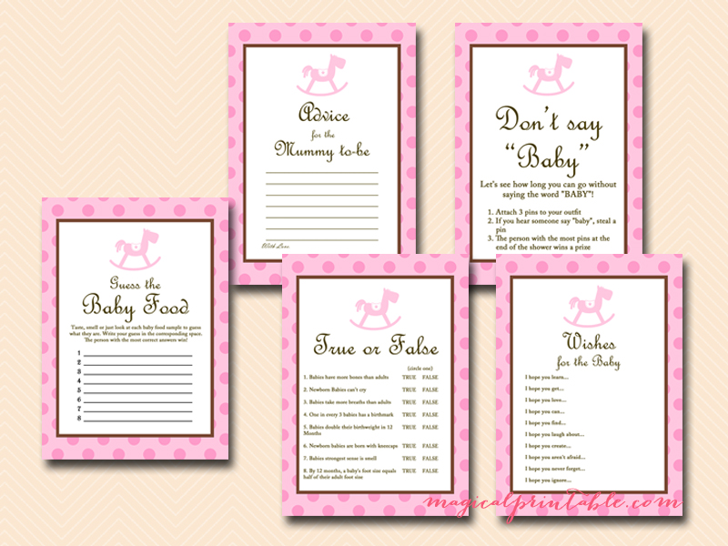 Rocking Horse Baby Shower Games Printables - Magical Printable