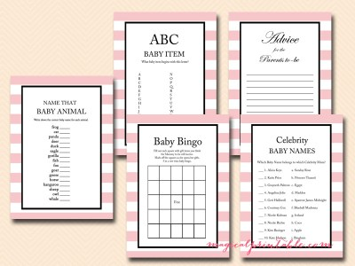 pink stripes, baby girl baby shower game pack tlc03
