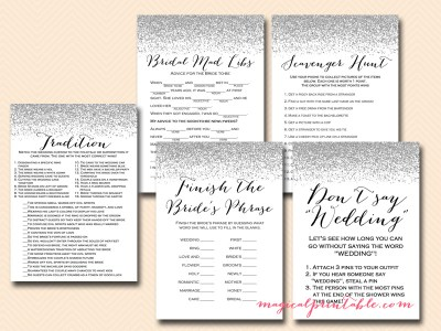 silver glitter bridal shower game pack, silver confetti, instant download, modern bridal shower games, chic bs89