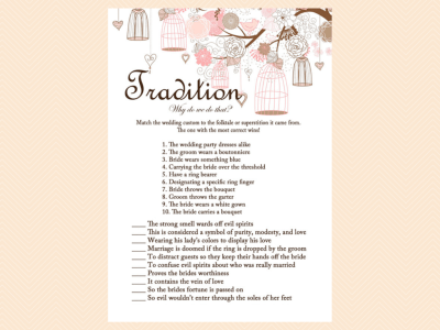 tradition, why do we do that game, unique game, Pink Bridal Shower Game Printables Pack, Bachelorette
