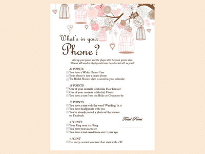 whats in your phone, cellphone game, modern bridal shower games, unique, Pink Bridal Shower