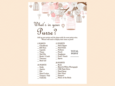 whats in your purse, Pink Bridal Shower Game Printables Pack, Bachelorette