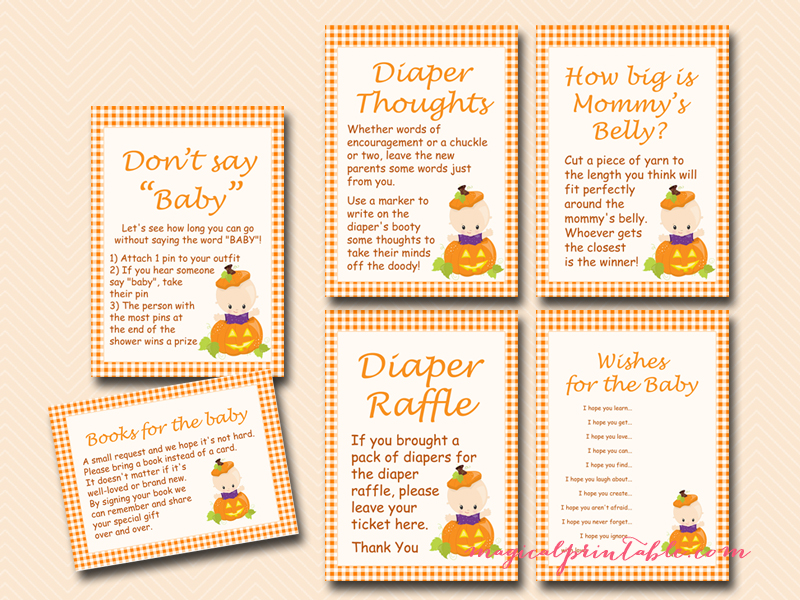 Pumpkin Baby Shower Game Pack - Magical Printable