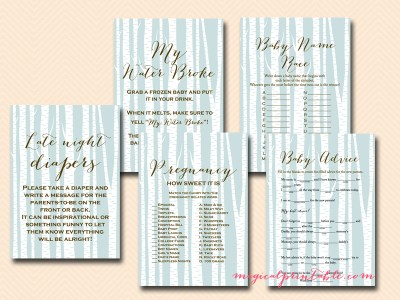 Instant Download, Woodland Baby Shower Games Printable, Birch Tree, Gender Neutral, Baby Boy, Baby Shower TLC101