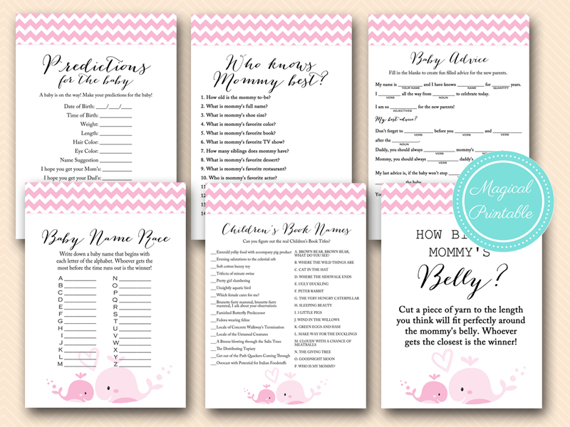 baby girl whale baby shower games pack tlc117 nautical baby shower