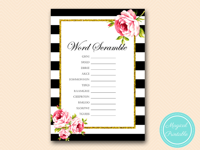 bridal shower word scramble pdf