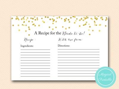 gold confetti recipe cards