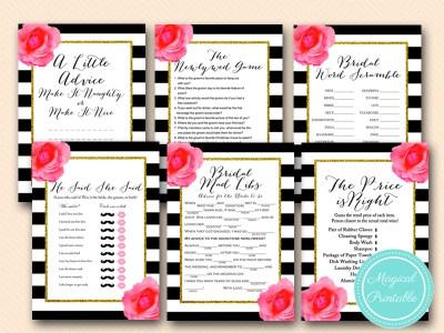 bs158 shabby chic black stripes floral bridal shower games pack download