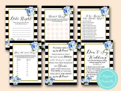 navy blue floral bridal shower black stripes printable games download bs162