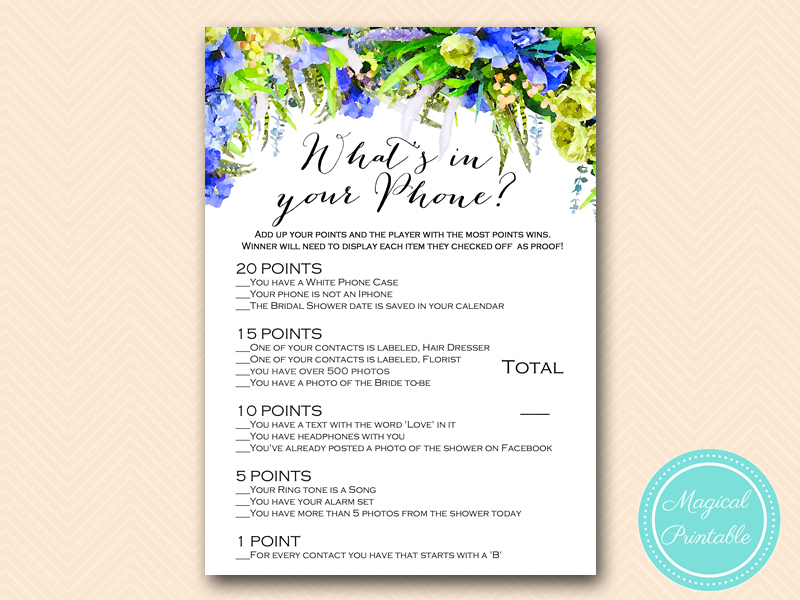 whats in your phone game bridal shower free pdf