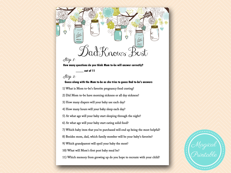 Dad Knows Best Rustic Teal Mason Jar Baby
