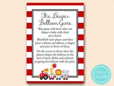 diaper balloon game sign 5x7 baby shower game tlc145