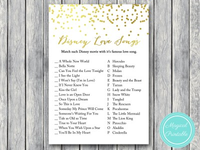 disney-love-songs gold confetti bridal shower games
