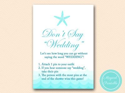 dont say wedding 1 pin bridal shower game