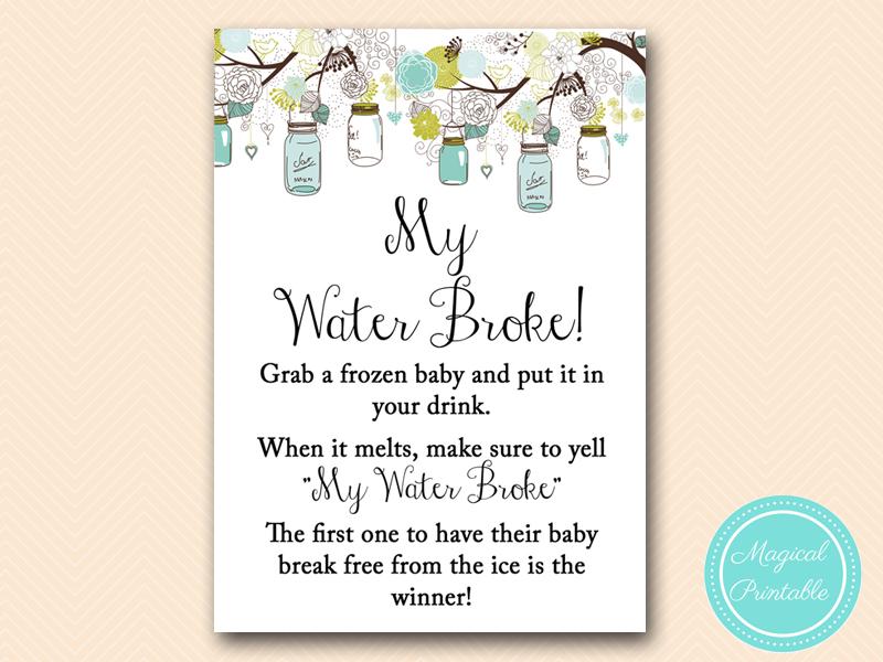 My Water Broke  Teal Mason Jar Baby Shower
