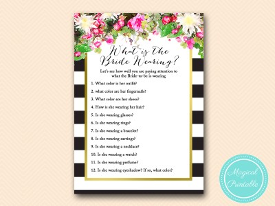 what-is-the-bride-wearing  pink floral black stripes gold