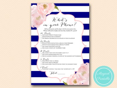 BS177-whats-in-your-phone blue stripes bridal shower game