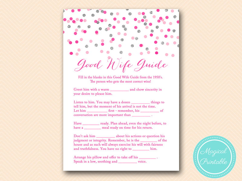 Pink and Silver Bridal Shower Game Printable - Magical Printable