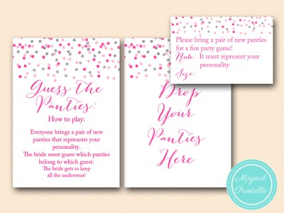 BS179-guess-the-panties-game-how-to-play-sign-Pink-silver-confetti-bridal-shower-games