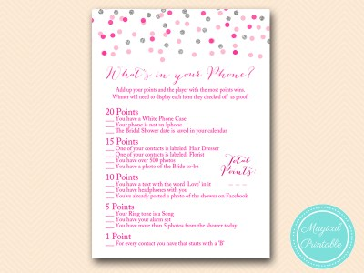BS179-whats-in-your-phone-Pink-silver-confetti-bridal-shower-games