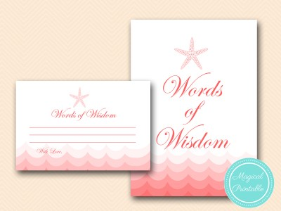 BS182-words-of-wisdom-sign-nautical-coral-beach-bridal-shower-activity