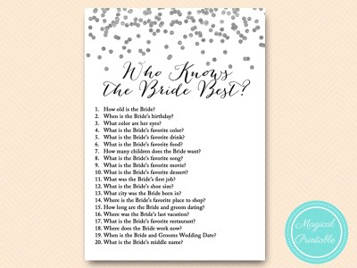 Silver Foil Confetti Bridal Shower Game
