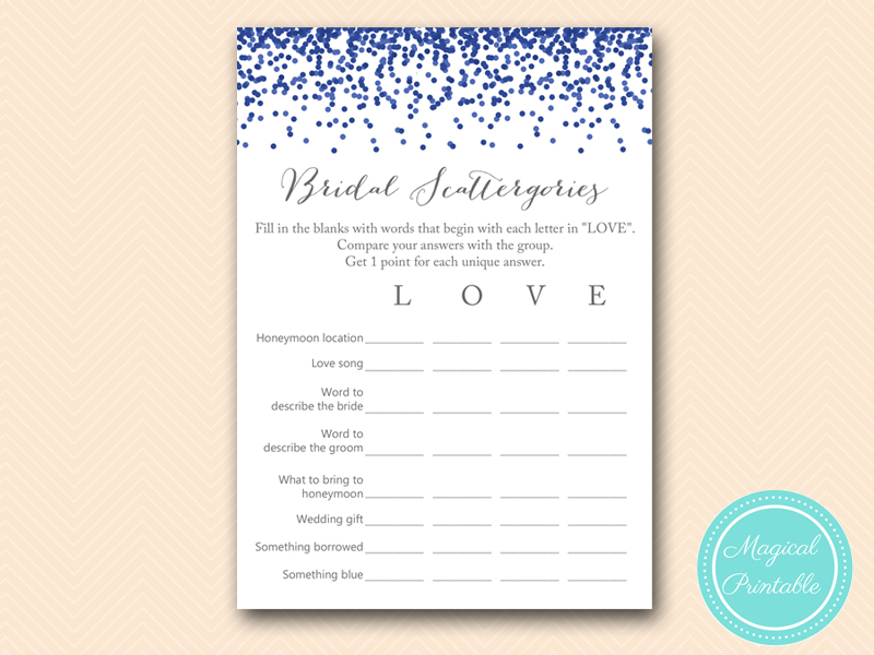 navy and gray bridal shower magical printable