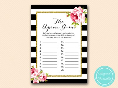 BS10B-apron-game-black-stripes-pink-floral-chic-bridal-shower-game
