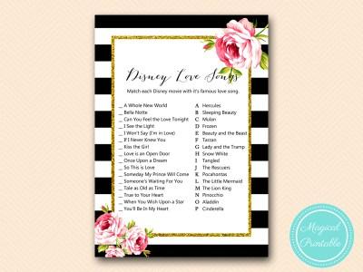 BS10B-disney-love-song-match-black-stripes-floral-chic-bridal-shower-game