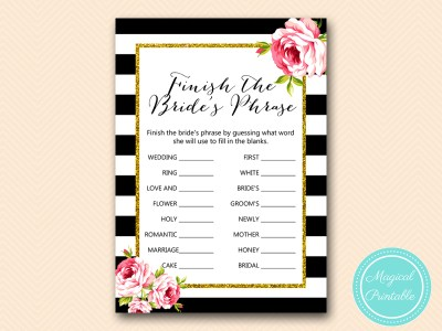 BS10B-finish-brides-phrase-black-stripes-pink-floral-chic-bridal-shower-game
