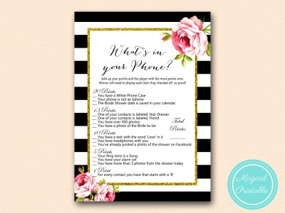 BS10B-whats-in-your-phone-black-stripes-pink-floral-chic-bridal-shower-game