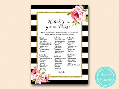 BS10B-whats-in-your-purse-black-stripes-pink-floral-chic-bridal-shower-game