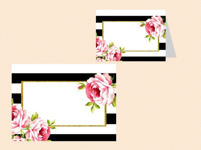 EDITABLE Food Label Cards, Black White Floral Bridal Shower Labels