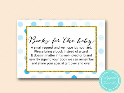 TLC430-B-books-for-baby-insert-boy-blue-dots-baby-shower-game-gold