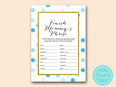 TLC430-B-finish-mommys-phrase-boy-blue-dots-baby-shower-game-gold
