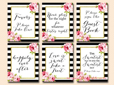 black stripes, floral wedding signs, bridal shower signs, favors, thank you sign, cards and gifts