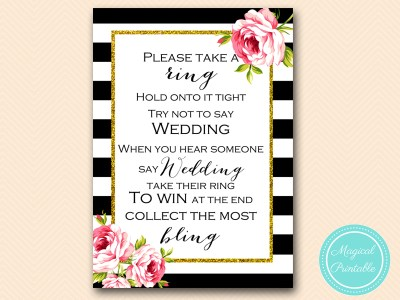 dont say wedding- ring game-black-stripes-pink-floral-chic-bridal-shower-game