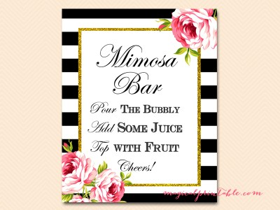 mimosa-bar-sign black stripes floral bridal shower sign wedding sign
