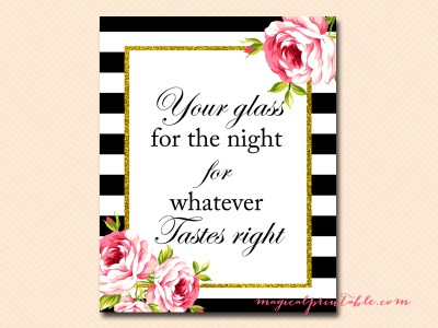 sign-glass-for-night black stripes floral bridal shower sign wedding sign