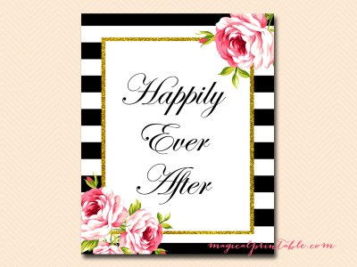 sign-happily-ever-after black stripes floral bridal shower sign wedding sign